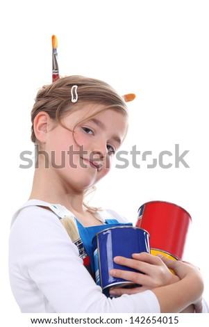 Little carrying paint pots and brushes - stock photo