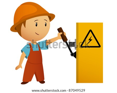 Little cartoon electrician switch on the power. Vector available. - stock photo