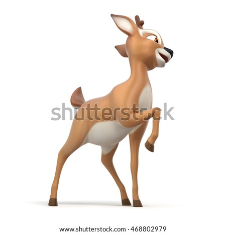 little cartoon fawn on white background, 3d render