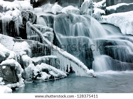 Little cascade with ice and icicles