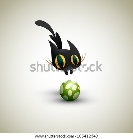 Little Cat playing with Football - stock photo