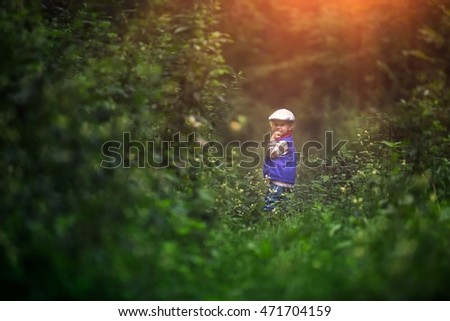 Little caucasian boy playing outdoor in summer. Beautiful baby portrait with magical mood.