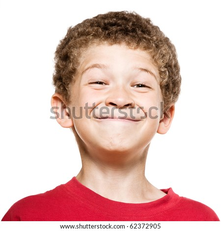 little caucasian boy portrait grimace smile isolated studio on white background - stock photo