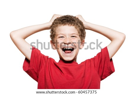 little caucasian boy portrait laughing cheerful isolated studio on white background - stock photo