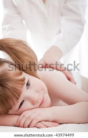 Little caucasian girl in a hospital. - stock photo