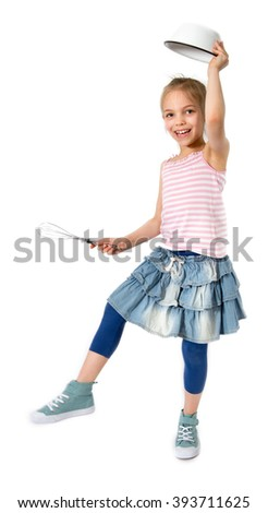 Little caucasian girl with kitchen utensils  - stock photo