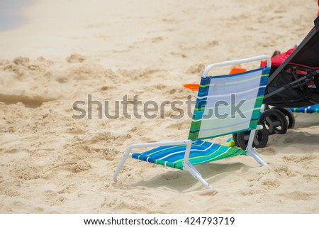 Little chair on the beach on holiday in Hawaii - stock photo