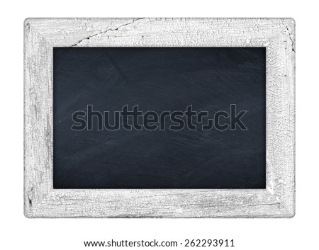 little chalkboard with white wooden frame - stock photo