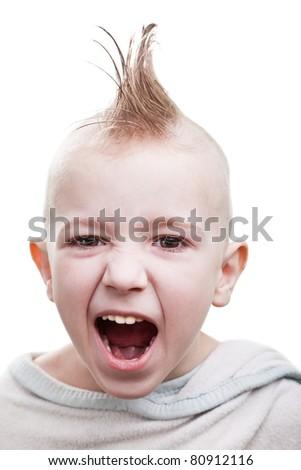 Little cheerful punk hair child boy fun smile grin - stock photo