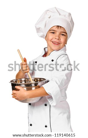 Little chef preparing healthy meal. Isolated - stock photo