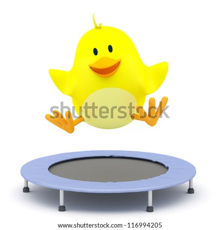 Little chick  jumping on Trampoline - 3D render - stock photo