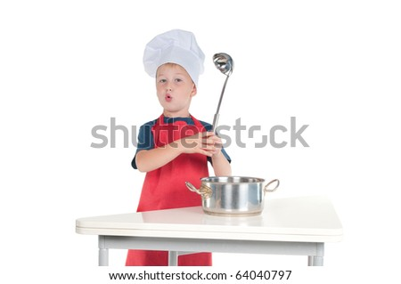 Little chief explaining recipe holding the ladle in hand - stock photo