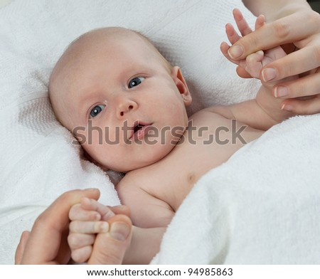 little child baby  on white background - stock photo
