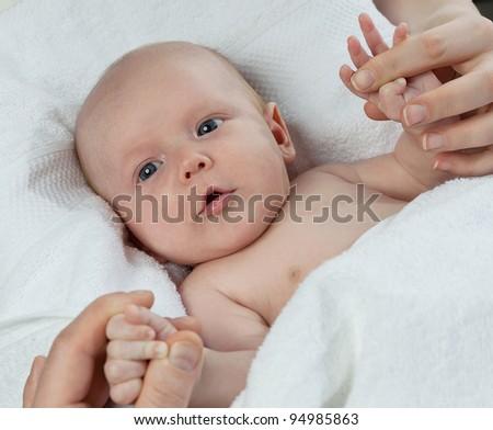 little child baby  on white background - stock photo