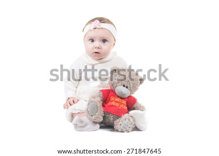 little child baby smiling on  isolated studio on white background - stock photo