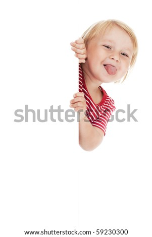 little child behind white board - stock photo