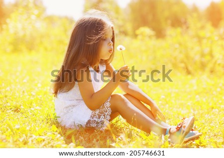 Little child blowing dandelion in sunny summer day - stock photo