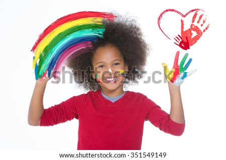 little child drawing and painting with hands isolated on white background - stock photo