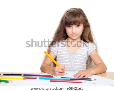 little child drawing isolated on white