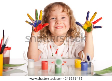Little child, drawing paint. Isolated on white - stock photo