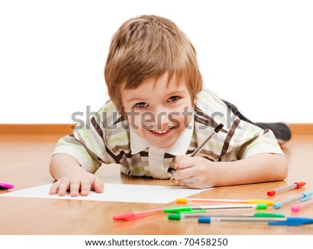 Little child drawing painting or writing letter - stock photo
