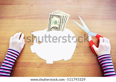 Little child dreaming about savings and wealth. Abstract image with paper scrapbooking