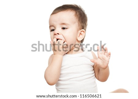 Little child eating healthy food fruits isolated on white background
