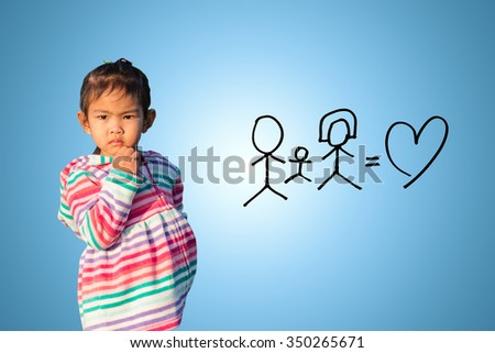 little child girl  thinking about family - stock photo
