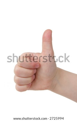 Little child hand in thumbs up on white background - stock photo
