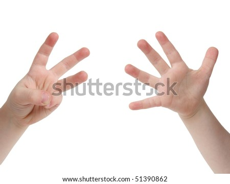 Little child hand with Eight finger on white background - stock photo