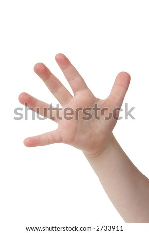 Little child hand with Five finger on white background - stock photo