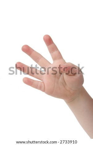 Little child hand with four fingers up on white background - stock photo