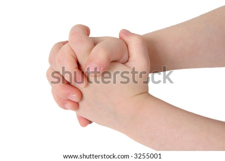Little child hand with hands together on white background - stock photo