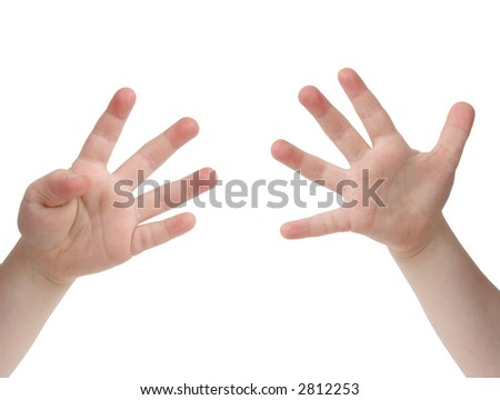 Little child hand with Nine finger on white background - stock photo