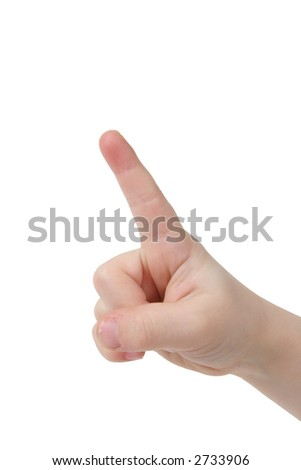Little child hand with one finger on white background - stock photo