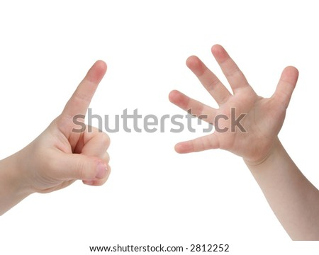Little child hand with Six finger on white background - stock photo