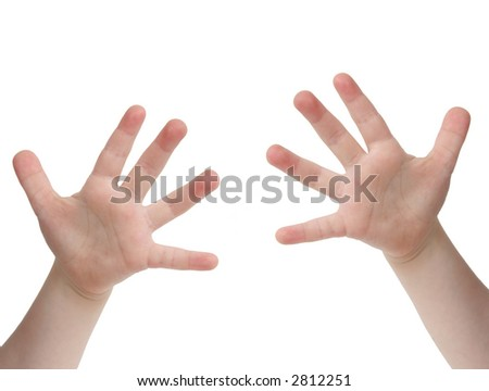 Little child hand with Ten finger on white background - stock photo
