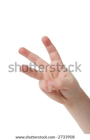 Little child hand with three finger on white background - stock photo