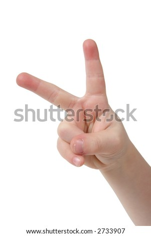Little child hand with two finger on white background - stock photo