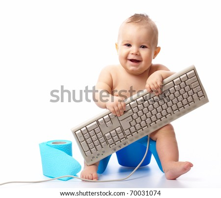 Little child holding keyboard and smile while sitting on potty, isolated over white - stock photo