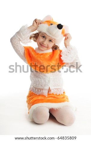 Little child in costumes fox