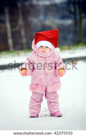 little child in santa hat - stock photo