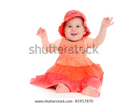 little child isolated on a white background - stock photo