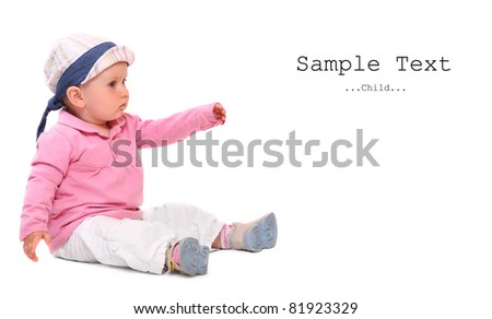 Little child sitting on a white background.