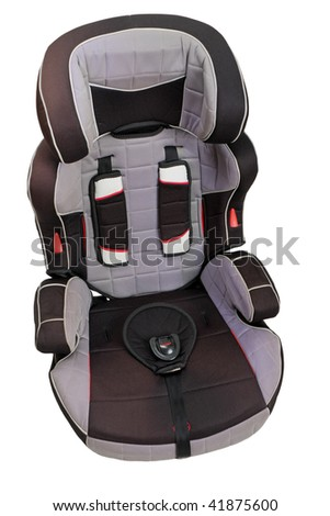 Little child vehicle car safety seat with belt - stock photo