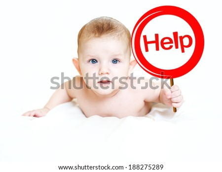 "Little child with a sign ""help"" in light background. The page not a found. - stock photo"