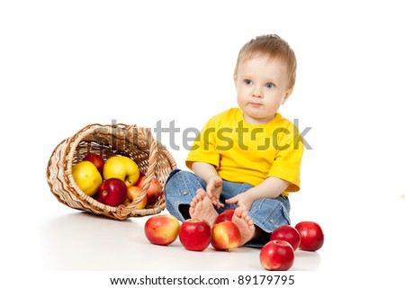 Little Child with healthy food - stock photo