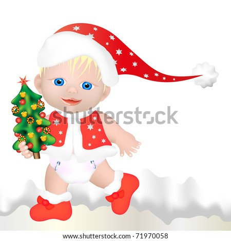 little child with santa claus head covering and jacket walking with small christmas tree in snowy landscape