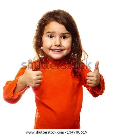 Little children brunette child curly girl woman in an orange jacket, showing two thumbs up isolated on white background - stock photo
