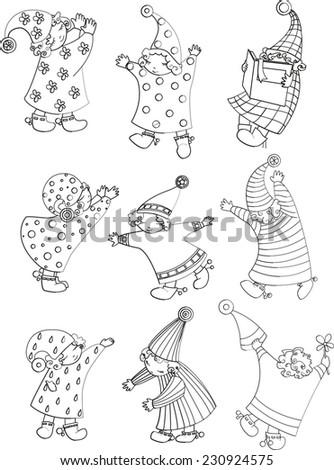 little children dream contour illustration - stock photo